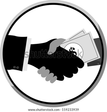 two man handshake with money, isolated on white background  - stock vector