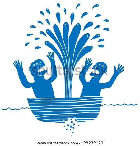 Two man in a sunken boat - stock vector