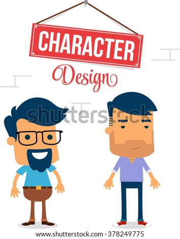 Two Man Vector Character Design - stock vector