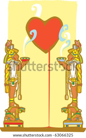 Two mayans standing the backs of slaves hold smoking bowls with image of bleeding heart. - stock vector