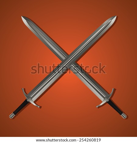 Two Medieval Swords Crossed. Vector Image with Orange Background - stock vector