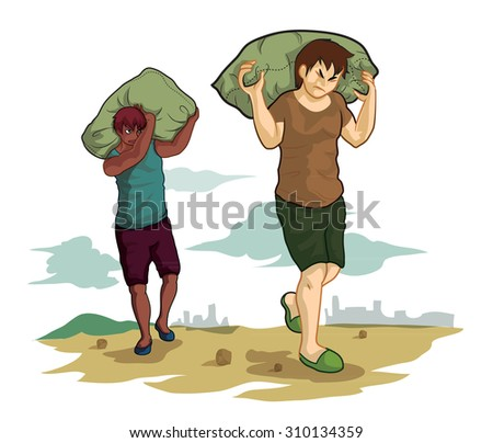two men carrying a sack on nature background - stock vector