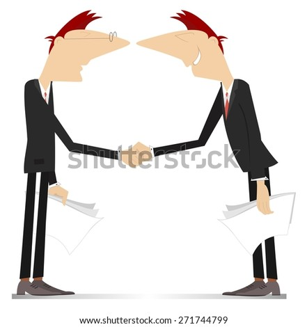 Two men come to terms and shake hands - stock vector