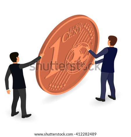 Two men economists support the euro. Animated illustration. One euro cent coin.  - stock vector