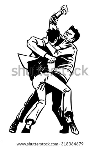 Two men fist fighting, black and white, isolated comic style vector illustration
