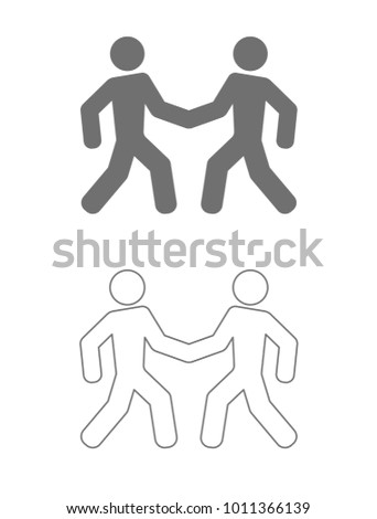 two men handshaking outline icon