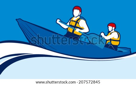 Two men in a boat sailing on a white water - stock vector