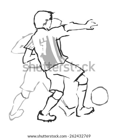 two men playing football. Vector illustration - stock vector