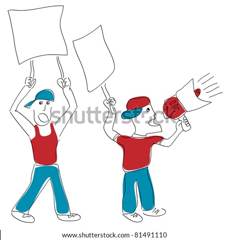 two men protesting - stock vector