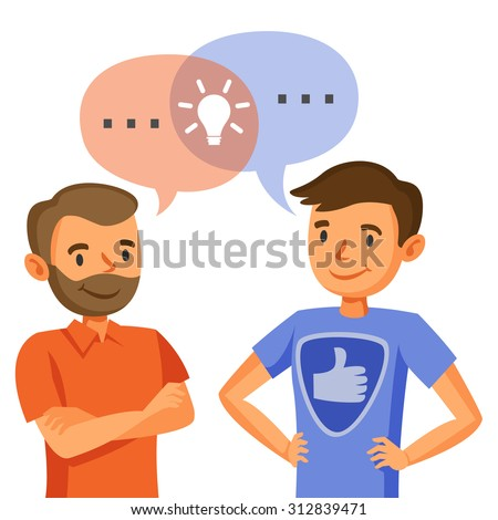 Two men talk, discussion, exchange of ideas, teamwork, and programmers - stock vector