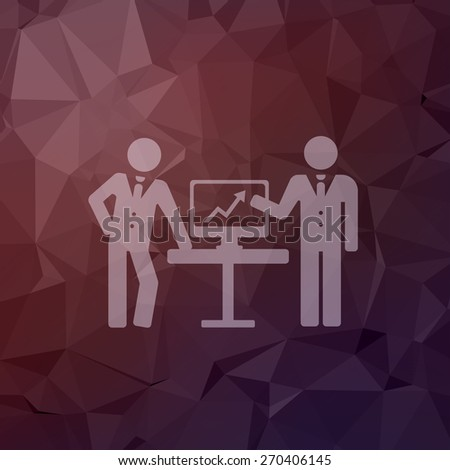 Two men with diagram icon in flat style for web and mobile, modern minimalistic flat design. Vector white icon on abstract polygonal background