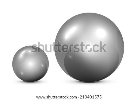 Two metallic spheres on white background, illustration. - stock vector