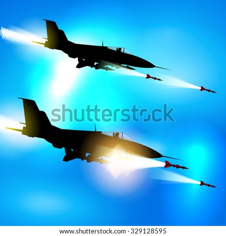 Two military jets shooting at ground targets. Vector illustration