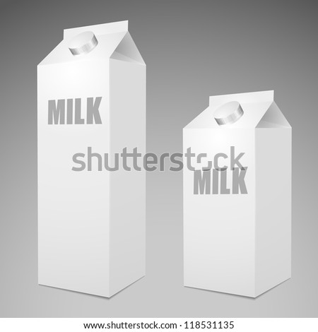 Two Milk Carton Packages Blank White big and small - stock vector