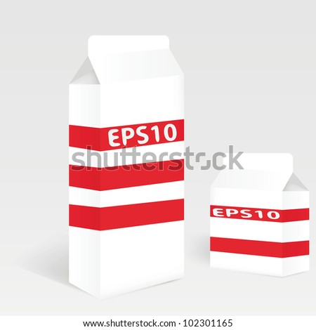Two Milk Carton Packages Blank White: Vector Version - stock vector