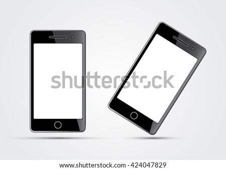 two mobile phones on a white background - stock vector