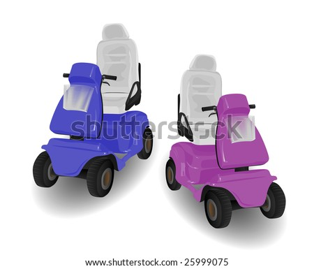 Two Mobility Scooter Illustrations Pink and Blue on White - stock vector