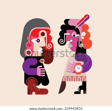 Two modern stylish women. Abstract art vector illustration. Young woman talking with her girlfriend. - stock vector