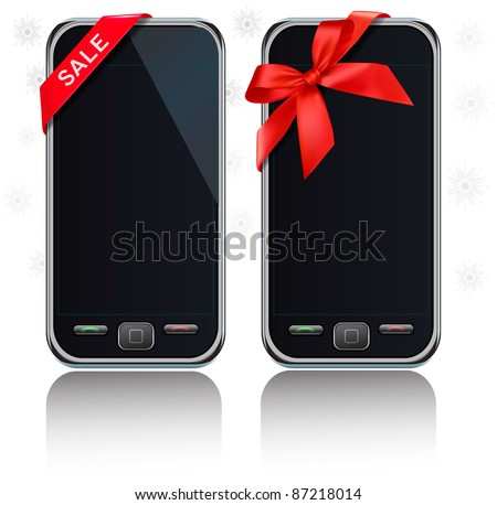 Two modern touch-screen mobile phones with ribbon and a sale sign. Vector. - stock vector