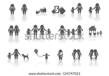 Two Moms Family Icon Symbol Set No open shapes or paths, grouped for easy editing. - stock vector