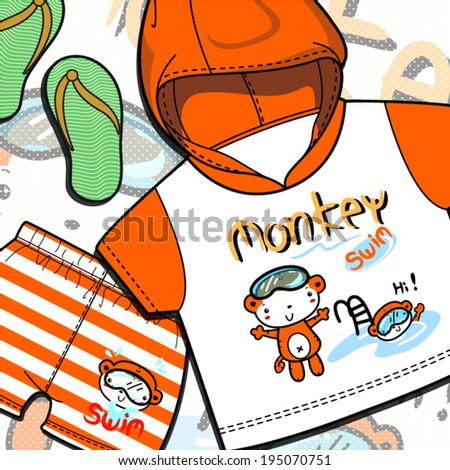 two monkey cute swim on t-shirt and short - stock vector