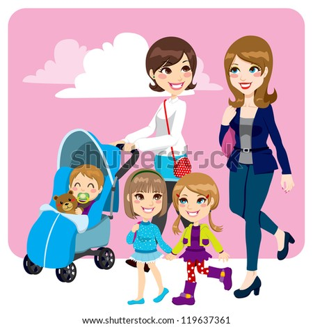 Two mother friends pushing stroller walking with little baby son and child daughters