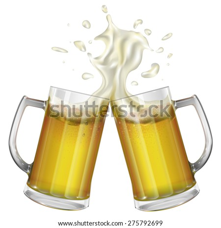 Two mugs with a light beer. Mug with beer. Vector - stock vector
