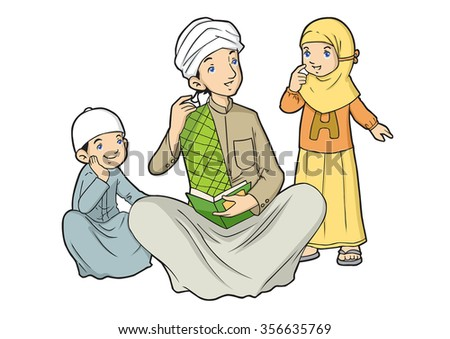 Two muslim kids with their teacher - stock vector