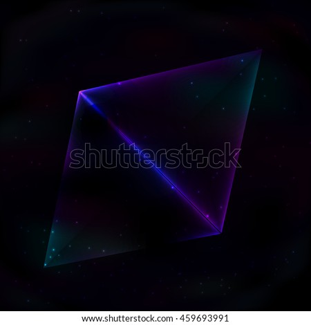 Two neon glowing triangles in retro style on background of the cosmos form a rectangle.