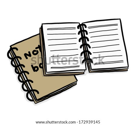 two notebook with brown color / cartoon vector and illustration, isolated on white background. - stock vector