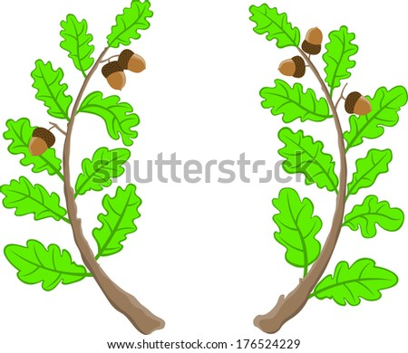 two oak branches - stock vector