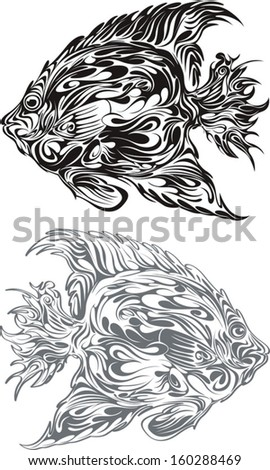 Two ocean fishes drawn as a decorative graphic style - stock vector