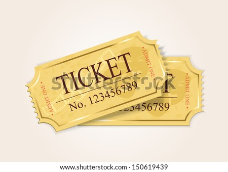 Two old cinema tickets isolated on a white background, illustration. - stock vector