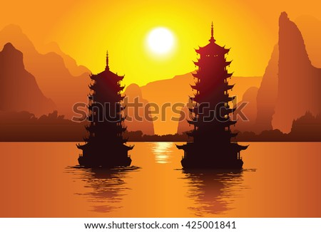 Two old pagodas on the water, Guilin, China