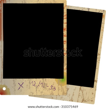 Two old photo frames, grungy vector illustration. Fictional artwork. - stock vector