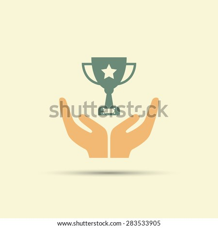 Two open hands holding champion cup isolated vector colored icon - stock vector