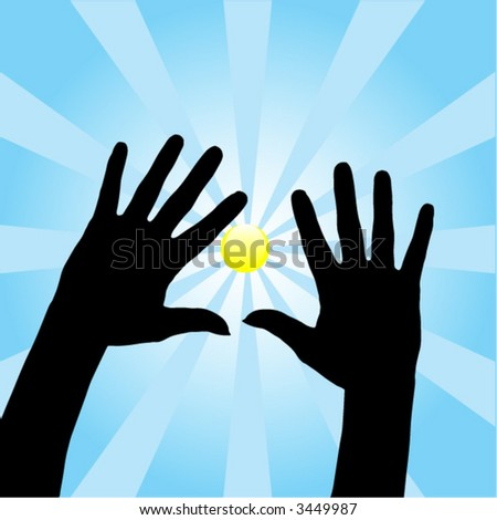 Two open hands silhouette with blue rays background.
