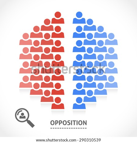 Two opposite teams with different opinions. Conceptual vector illustration of opposition.