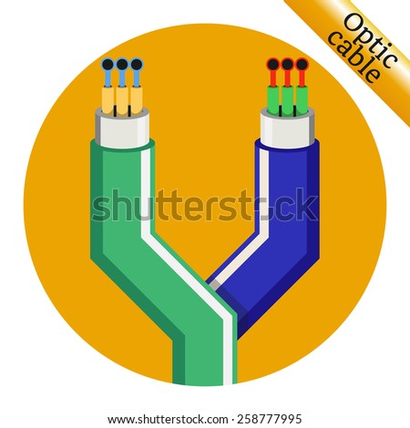 Two optic cable icons on yellow background. Vector illustration - stock vector