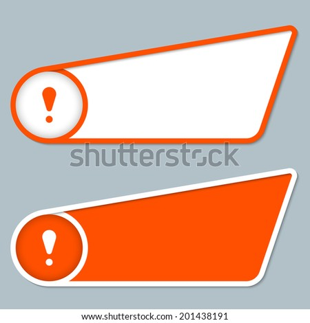 two orange boxes for any text with exclamation mark - stock vector
