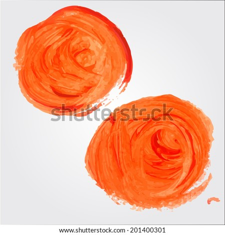 Two orange paint stroke. Vector artistic background. - stock vector