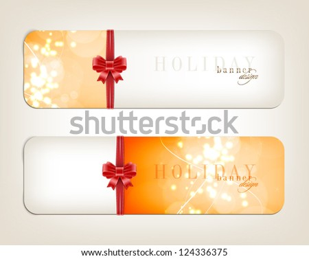 Two orange vector festive banners collection with sparkling background and red silky ribbon bow knots