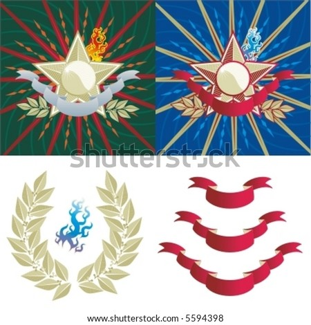 Two order-like backgrounds with star, rays, laurel, banner and flame, various design elements ( for high res JPEG or TIFF see image 5593753 )