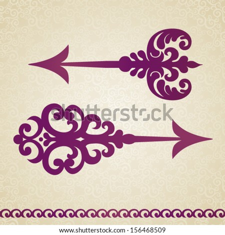 Two ornate decorated vector arrows in Victorian style on seamless curls background. Element for design. It can be used for decorating of invitations, cards, decoration for bags and at tattoo creation. - stock vector