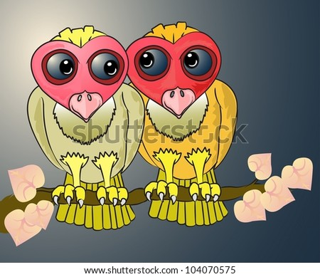 two Owl on the tree with love shape leave - stock vector