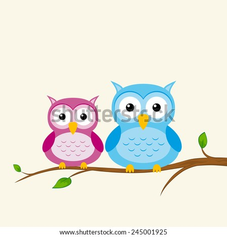 Two Owls On Branch Clip Art Owl Tree Stock V...