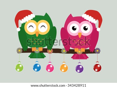 Two owls on tree wearing a red santa claus hat with christmas multicolor balls and colorful ornaments . Vector illustration design Christmas holiday background concept. - stock vector