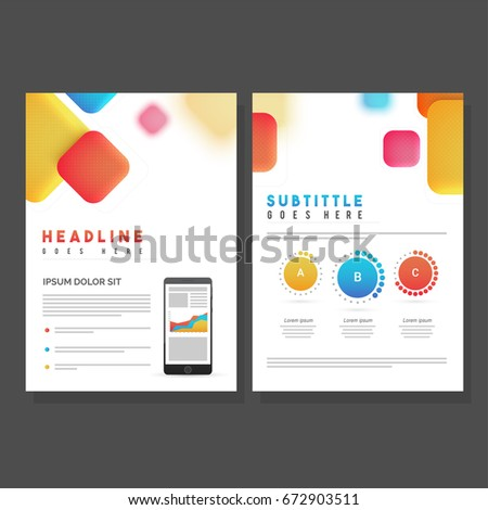 Two Pages Brochure Template Design Colorful Stock Vector - Two page brochure template
