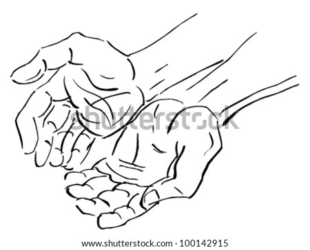 two pair open hands. vector
