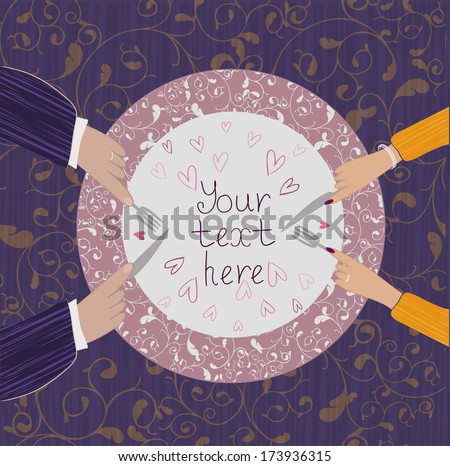 Two pairs of hands near the plate on a background with curly pattern - stock vector